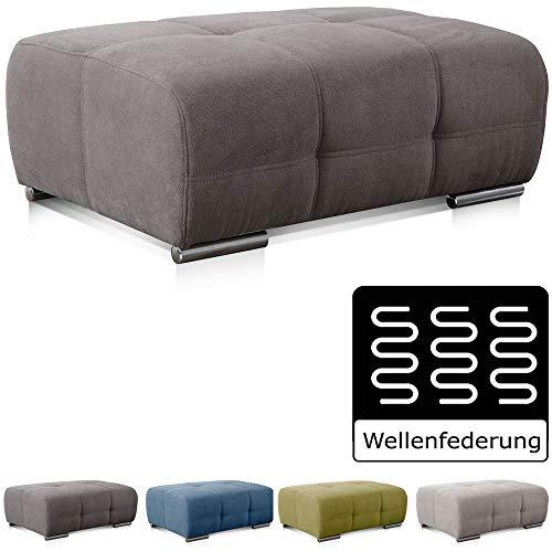 CAVADORE Polsterhocker Mistrel mit Steppung / Sofa-Hocker im modernen Design / Passend zur Polsterserie Mistrel / 109 x 42 x 73 / Kati Fango