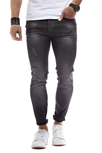 LEIF NELSON Herren Hose Jeans Stretch Basic Jeanshose Freizeithose Denim Slim Fit Chinos Cargo Jogger Jeans Skinny (31W / 32L, Schwarz)