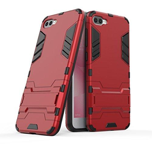 Hülle für Asus ZenFone 4 Max ZC520KL (5,2 Zoll) 2 in 1 Hybrid Dual Layer Shell Armor Schutzhülle mit Standfunktion Hülle (Rot)