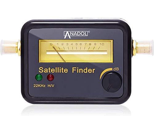 Anadol SF22 - Localizador de satélites con escala de nivel y señal sonora (medidor para una alineación óptima de la antena satélite, ajuste de satélite con instrucciones en alemán