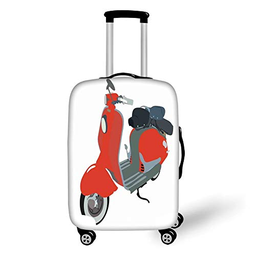 Travel Luggage Cover Suitcase Protector,1960s Decorations,Motor Scooter Doodle in Nice Sixties Style Driving Motorcycle Urban Cartoon Clipart Decorative,,for Travel M