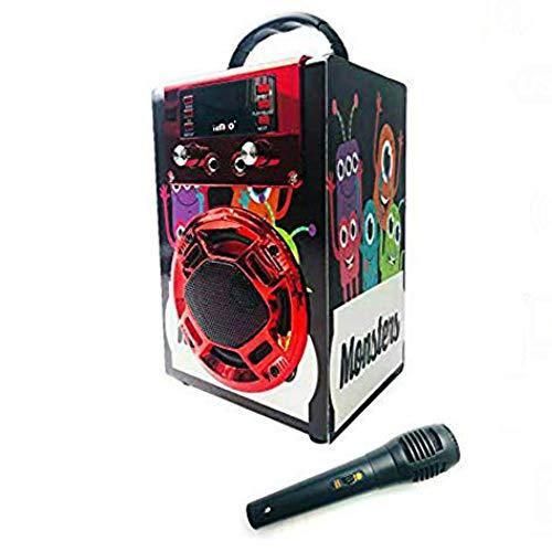 Altavoz Karaoke con Micrófono 25W Reproductor Radio FM MP3 Dos Entrada Mic Inalámbrico Portátil Madera USB SD Card Recargable con Mando (JA01- Rojo)