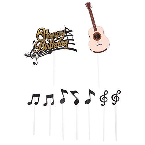 NUOBESTY 48 Stück Musik Kuchen Topper Gitarre Notizen Geburtstagstorte Topper Backen Kuchen Topper Geburtstagstorte Dekor für Party