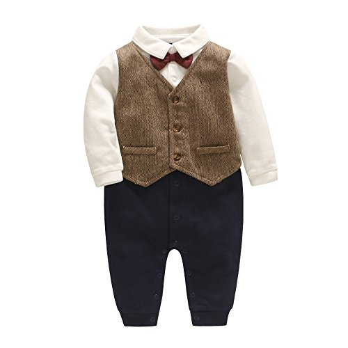 Fairy Baby Formal Baby Boy Outfit Infant Baby Tuxedo Suit Boys Gentleman Dress Clothes 6-9 Months, Brown