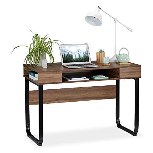 relaxdays Scrivania, 3 Ripiani Aperti, Design Moderno, per Salotto & Cameretta, HLP:74,5 x 110 x 55 cm, Marrone/Nero