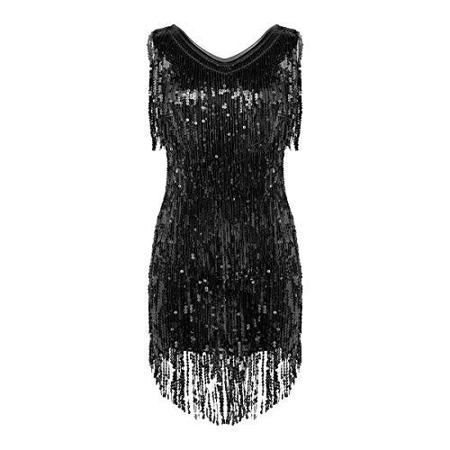 inhzoy Damen-Kleid, glitzernde Pailletten, V-Ausschnitt, ärmellos, Fransen, Ballsaal, Latin Samba, Tango, Tanzkleid Gr. XX-Large, Schwarz