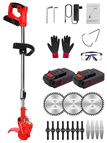 Cortadora de césped eléctrica sin cable, con batería de litio de 24 V y cargador rápido, potente y ligero, kit de cepillo telescópico para podas para exteriores, color rojo