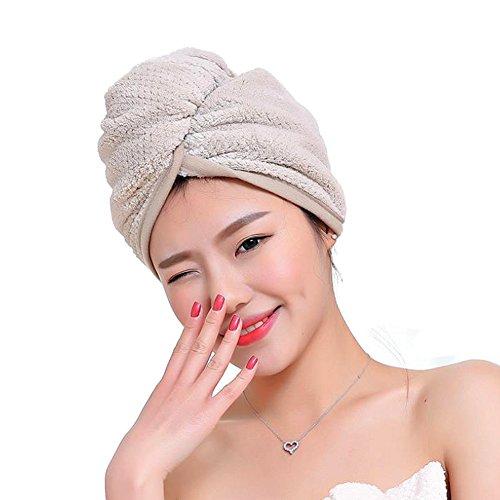 Fyore Ultra absorbente Turbante para el cabello Toalla de secado rápido Anti Frizzy Microfibra Diseño de lujo para mujeres (Caqui)