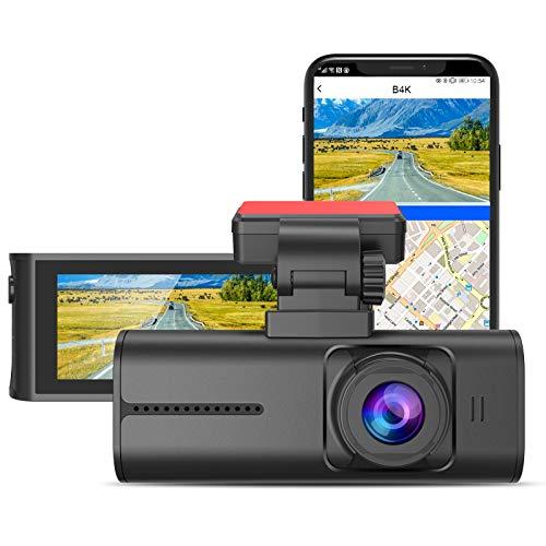 BlueSkySea 4K Dash Cam, 3840x2160P Ultra HD Car Dash Camera w/ WiFi, GPS, 8MP Sensor, 3.16' Wide Screen, Night Vision, Wide Angle, Buffered Parking Mode, Motion Detection, G-Sensor, Time Lapse