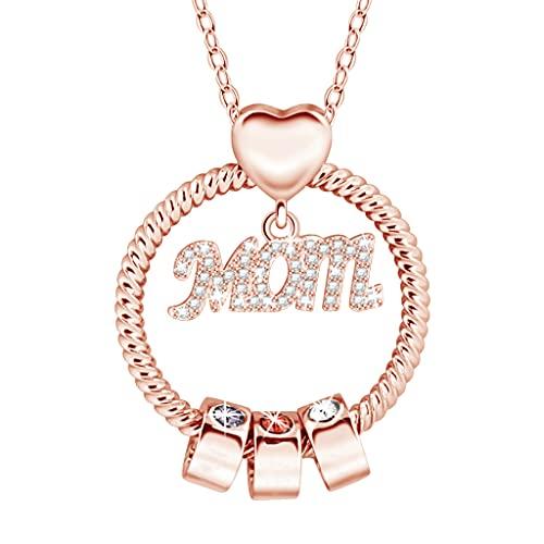 Collar personalizado – Collar con piedra natal de Europa y América con puntadas con nombre grabado de color de diamante para mamá, RG., Talla única