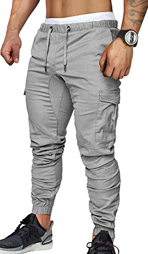 SANMIO Jogger Cargo Herren Chino Jeans Hose Herbst Winter Stretch Freitzeithose- Gr. EU M/ Etikettgröße: L, Grau