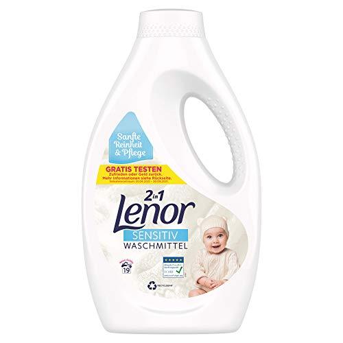 Lenor Waschmittel Flüssig, Flüssigwaschmittel, Sensitiv für sensible Haut und Babyhaut, 19 Waschladungen (1.045 L)