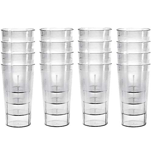 Plastic Cup Tumblers coloreskware Glasses - Acrylic Tumbler Set of 16 Clear color Break Resistant 20 oz. Restaurant Quality Tumblers Dishwasher Safe and BPA Free by Kryllic