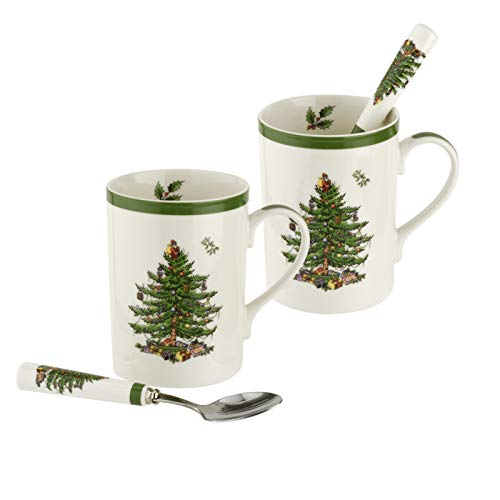 Spode - Juego de 2 tazas y 2 cucharas, diseño de árbol de