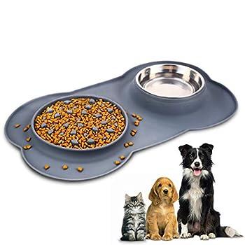 Gamelles pour Chat et Chien, Gamelle d'alimentation Lente et Bol d'eau en acier inoxydable avec Plateau en silicone anti-déversement Tapis antidérapant en forme d'os, Bol d'eau amovible pour chien