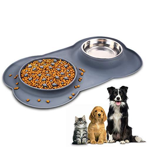 YAMI Haustier Fressnapf, Langsam Fressen Hundenapf und Edelstahl Wassernapf mit Nicht verschütteter Silikonschale Knochenform rutschfeste Matte, zusammenklappbare abnehmbare Hunde Katzen Futternapf