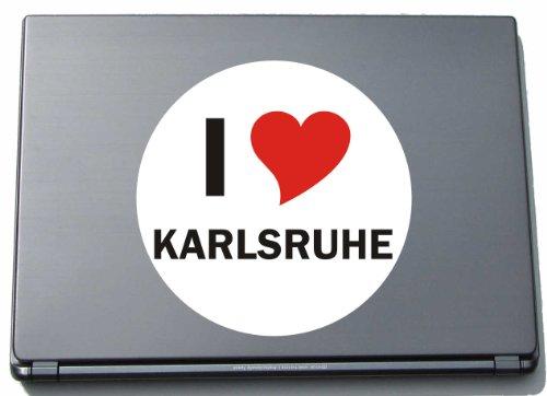 Indigos I Love Aufkleber Decal Sticker Laptopaufkleber Laptopskin 210 mm mit Stadtname Karlsruhe