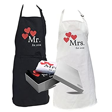 His and Hers Couple Matching Aprons - Mr and Mrs Est. 2018 Kitchen Cooking Set with Gift Box - Set of 2 Engagement Wedding Gift Set