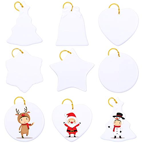 6 Pieces Sublimation Ceramic Ornament Christmas Tree Personalized Sublimation Pendant Blank Snowflake Ceramic Hanging Decorations for DIY Christmas Tree Decor