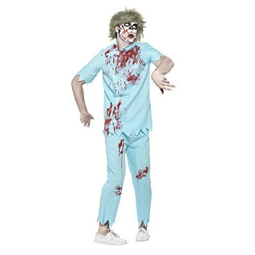 Smiffys Costume Dentista zombie, Azzurro, con top, pantaloni, maschera viso e denti in l