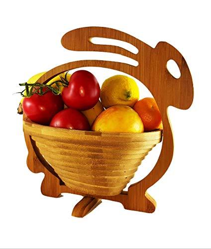 Lapin de Pâques Corbeille de Fruits Lapin Panier de Pâques Osternest Lapin de Pâques, Belle Panier Pliant 30 X 30 cm de Meubles en Bambou