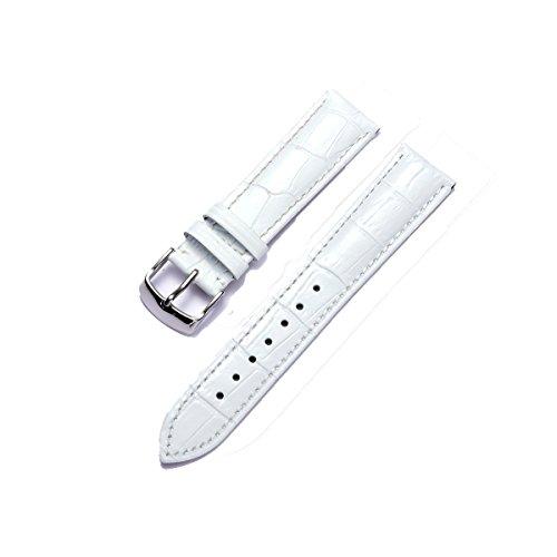 Correa de Reloj de Piel de Becerro Banda/Pulsera Reemplazo - Blanco 16mm