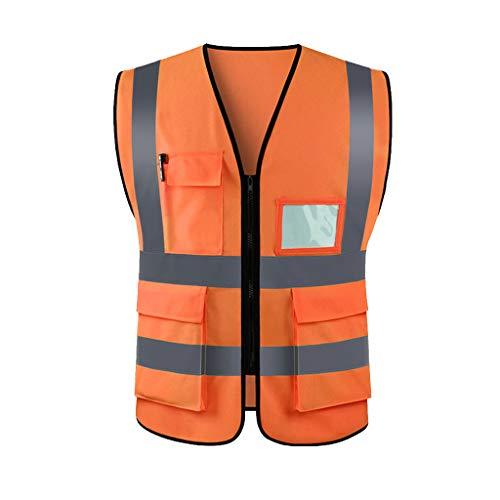 Amuzocity Chaleco Reflectante Multibolsillos, Hermosa Tecnología De Costura A Presión - Naranja, XL