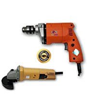 KROST TC-10A 10mm Electric Drill with 850W Angle Grinder Machine (Orange and Blue)