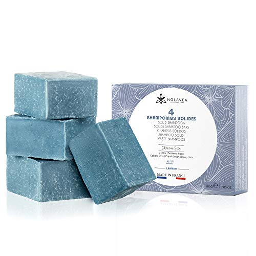 Festes Shampoo, 4er Pack, 100% natürliches Shampoo, Lavendel, ätherisches Kokosöl und Sheabutter, pflanzliches Glycerin, Shampoo für trockenes Haar, ökonomische & umweltfreundliche Seife
