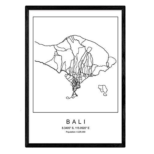 Nacnic Drucken Stadtplan Bali nordischen Stil schwarz und weiß. A3 Größe Plakat Das Bedruckte Papier Keine 250 gr. Gemälde, Drucke und Poster für Wohnzimmer und Schlafzimmer