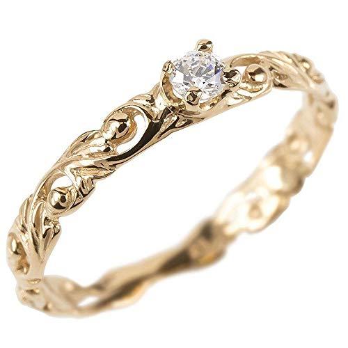 [アトラス]Atrus リング レディース 18金 ピンクゴールドk18 ダイヤモンド 一粒 ハワイアンジュエリー 透かし エンゲージリング 指輪 9号