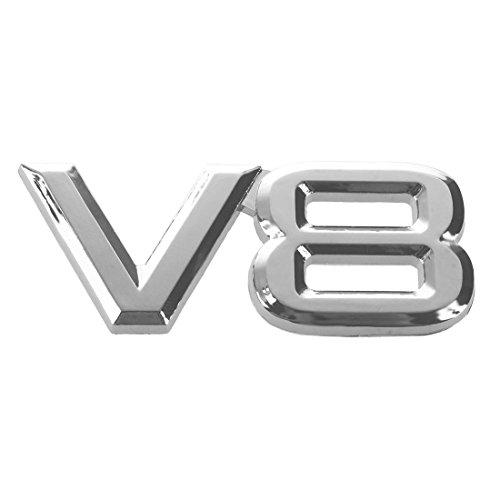Beada 7.5x3.5cm Auto KFZ V8 Aufkleber 3D Chrom Sticker Abzeichen Emblem