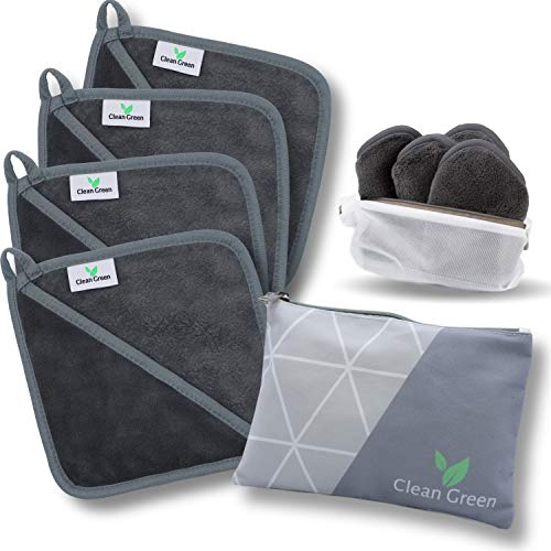Clean Green Mikrofaser Abschminktücher waschbar (4 Stück | Grau) - Hypoallergenes Make Up Entferner Tuch - Die umweltfreundliche Microfaser Abschminktücher Alternative