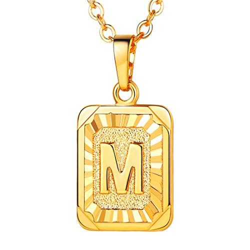 U7 A-Z 26 Letters Pendant Men Womens Fashion Jewelry 18K Gold Plated Square Pendants Capital Initial Necklace (M)