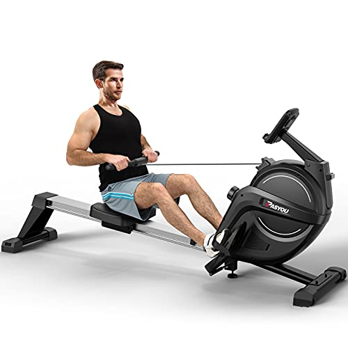 PASYOU Home Folding Rowing Machine Indoor Magnetic Rower for Full Body Workout with 15 Level Adjustable Magnetic Resistance Advanced Belt Driven System LCD Monitor Smooth Quiet Home Exercise Training