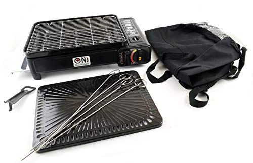 NJ Camping Gas Barbecue Portable Grill Burner Butane Stove BBQ Cooker 2.2kW Bag