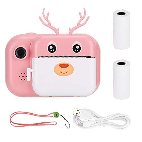 Atyhao Sofortdruckkamera für Kinder, 1080P Dual Lens Cartoon Deer Thermodruckkamera mit 16G Speicherkarte für Jungen und Mädchen Geburtstagsferien Weihnachtsreisegeschenke(Rosa)