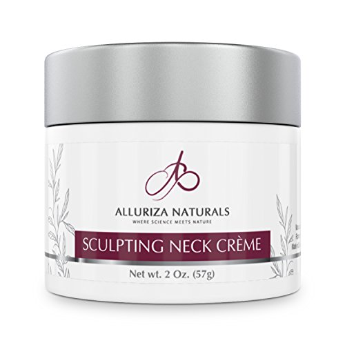 Sculpting Neck Crème by Alluriza Naturals, Anti-Aging Cream for Firming, Tightening Skin, Helps Double Chin, Crepe, Sagging, Natural Moisturizer with Apple Stem Cells, Matrixyl, Green Tea Extract 2oz