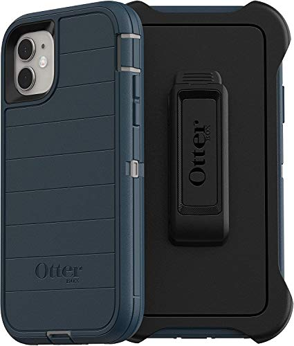 OtterBox Defender Series Rugged Case & Holster for iPhone 11 Only (Not for The Pro Model) - Non Retail Packaging - Gone Fishin Blue (with Microbial Defense)