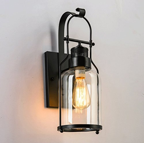 Éclairage Lampe de mur rétro en verre Creative (15 * 45cm, noir) (conception : 110V-130V)