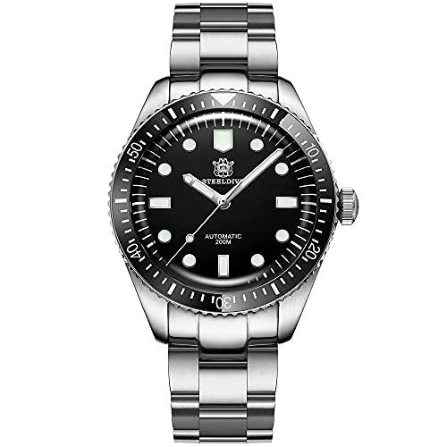 Steeldive Reloj de pulsera automático para hombre 1965, color negro, con correa de acero inoxidable, cristal de zafiro, bisel de cerámica.