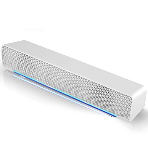 Soundbar PC Lautsprecher, USB Mini Soundbar Tragbar Subwoofer Wired LED Musikbox mit Dual Treiber Rein Bass für 3,5 mm Aux-in Verbindung Desktops,TV,Laptops,Handy