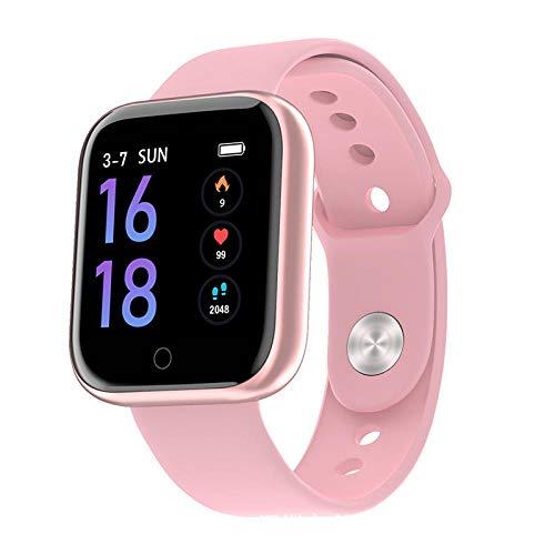 Yumanluo Smartwatch Impermeable,Reloj Inteligente Resistente al Agua y al Polvo, Pulsera Deportiva de Control de la Salud, Silicona Rosa,Monitores de Actividad,Fitness Tracker