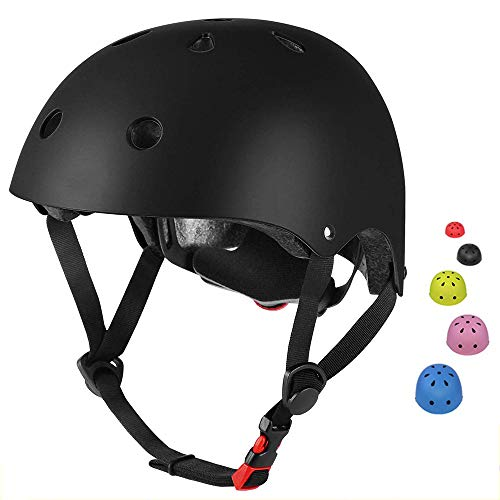 SLA-SHOP Kinderhelm für Jungen und Mädchen, verstellbar, bequem, für Roller, Roller, Skateboard, Fahrrad (3–8 Jahre) (schwarz)