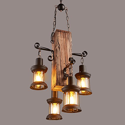 Industriële wijnoogst-boten houten lampjes creatieve persoonlijkheids-glaslachter schilderij ijzeren kandelaar voor zolder restaurant Φ45cm H100cm E27 * 4