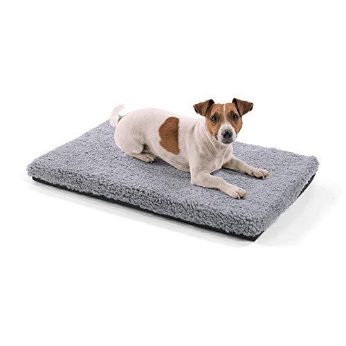 brunolie Luna kleine Hundedecke, orthopädisch, atmungsaktiv und waschbar, Hundematte mit gelenkschonendem Memoryschaum in Grau, Größe S (60 x 40 x 5 cm)