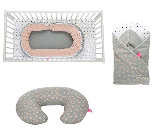Erstlingsset Motherhood Geschenk zur Geburt, Öko-Tex Standard - bestehend aus: Stillkissen/Babynest + Einschlagdecke SOFT + Set Baumwolltücher (3-teilig) + Set Wachtücher (7-teilig) (Kleckse apricot)