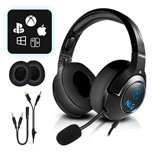 NLG X-Voice Gaming Headset Over-Ear-Headphones: Stereo, Noise Cancelling Mikrofon einfahrbar, extra Ohrmuscheln, für PS4, PC, Xbox One, Switch, LED