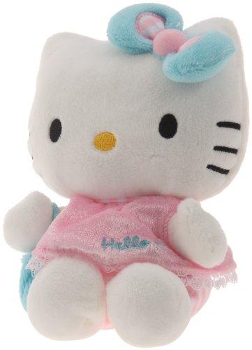 Hello Kitty - 021493 - Jouet Premier Age - Bean Bag en Peluche - Habillage Robe Rose - Sac Bleu - 15 cm