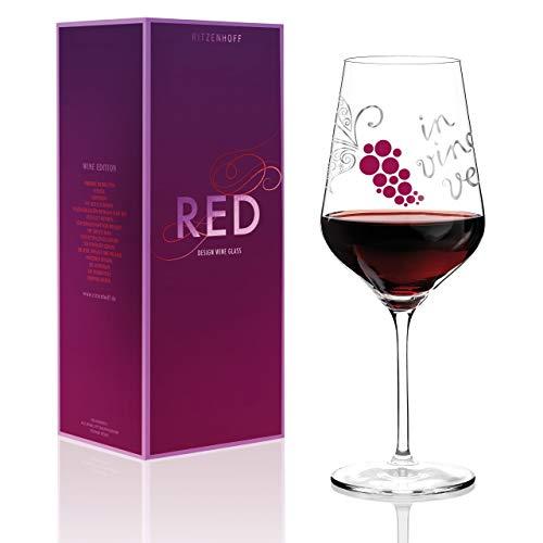 RITZENHOFF Red Rotweinglas von Nicole Winter, aus Kristallglas, 580 ml, mit edlen Platinanteilen